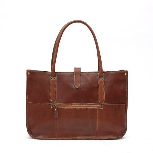 Image of Handmade Full Grain Leather Tote Bag, Leather Handbag for Women, Shoulder Bag, Work&Student Bag 6605