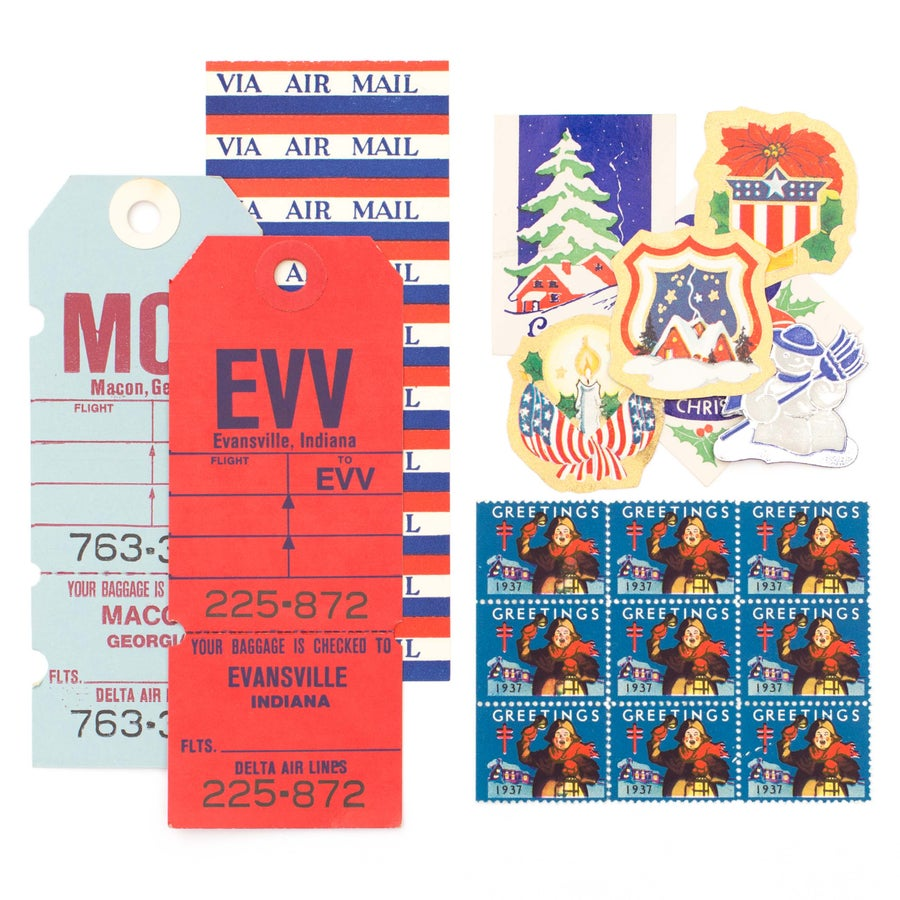Image of Red, White, and  Blue Winter Ephemera Collection
