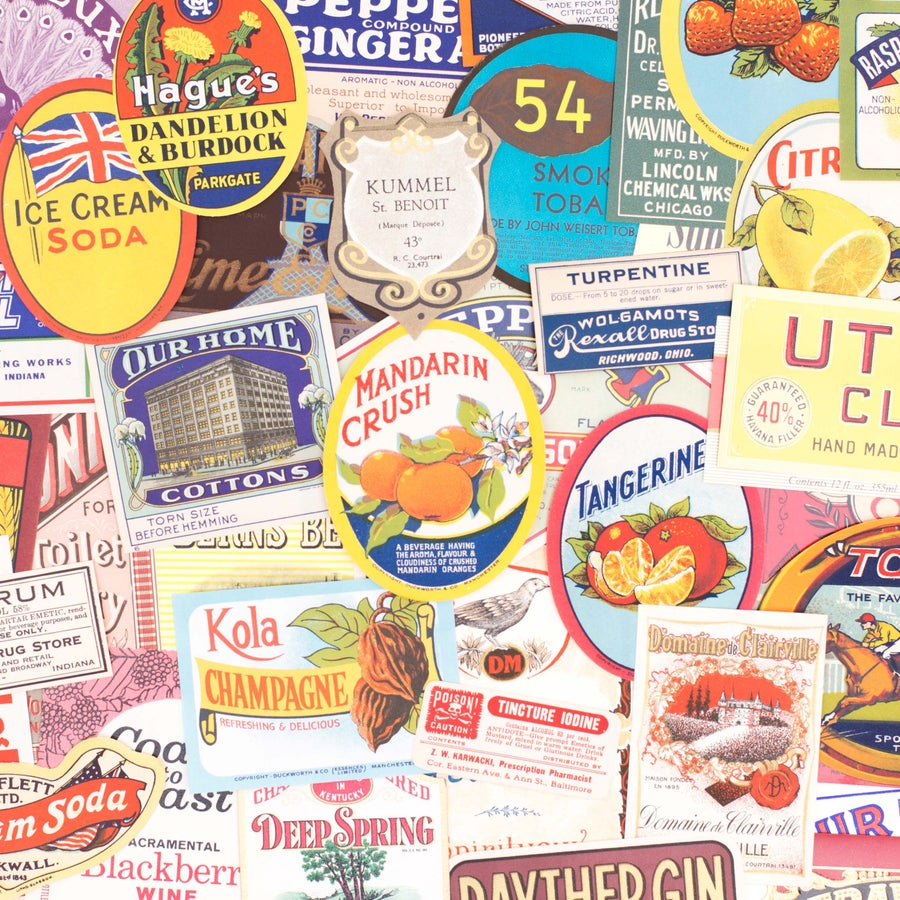 Image of Set of 50 Vintage Labels