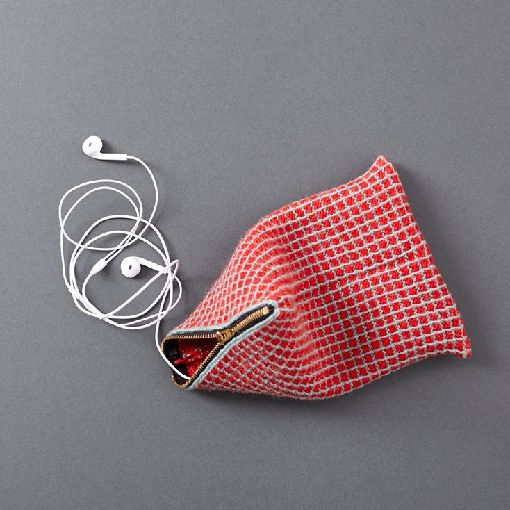 Image of Guernsey Buoyancy Pouch - Pistachio and Red Grid