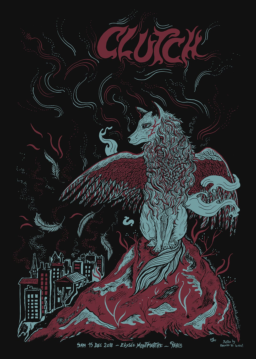 CLUTCH gig poster (Paris 2018)