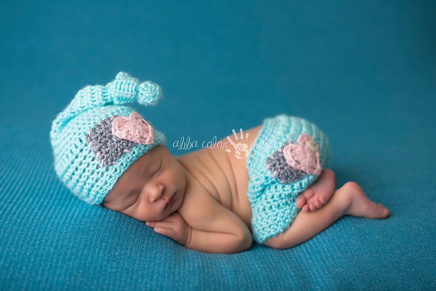 Image of Aqua, Pink and Gray Knot Top Hat and Shorties