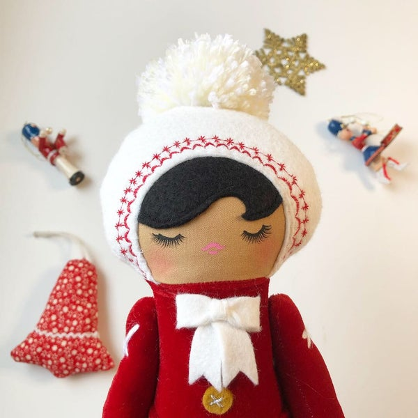 Image of Red Classic Holiday Doll #1