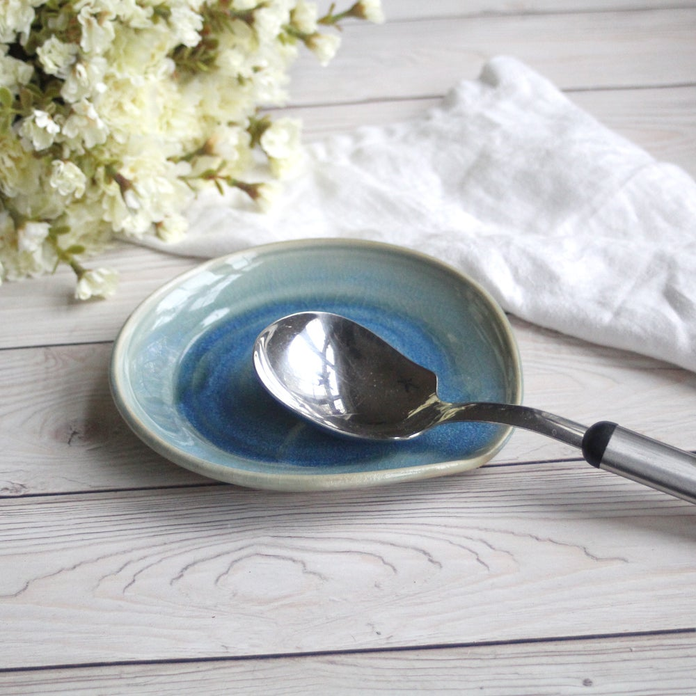 Image of Large Spoon Rest in Sea Glass Blue Glaze Handmade Stoneware Pottery Made in USA
