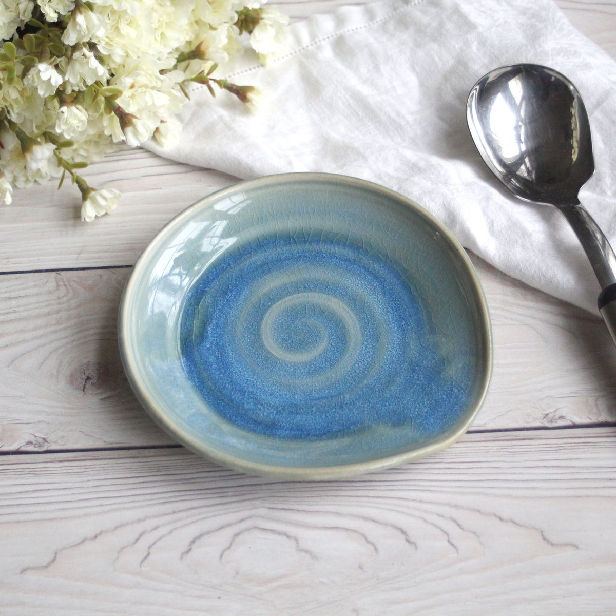 Andover Pottery Large Spoon Rest In Sea Glass Blue Glaze