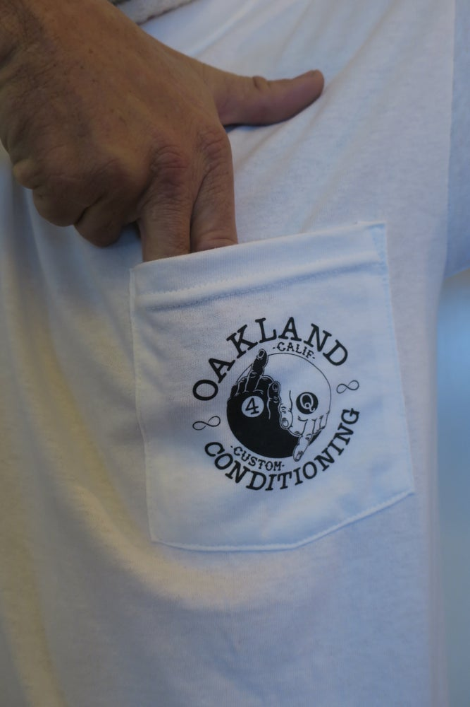 Image of White Yin Yang 4Q pocket T