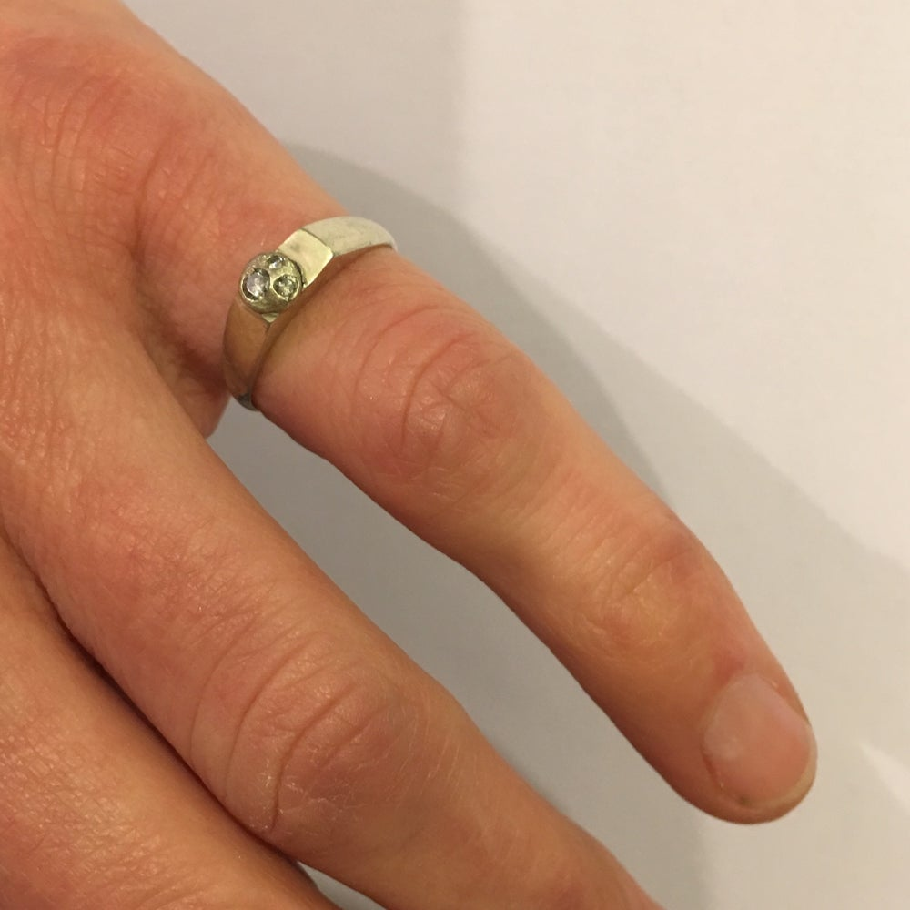 Image of White Gold and Diamond Pinkie Ring