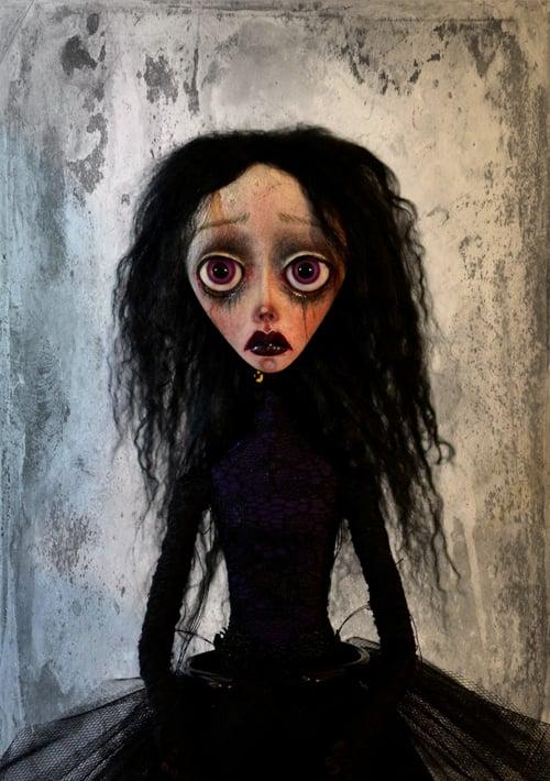 Image of *Custom order* OOAK Handmade Dark Art Doll GALINA. Goth ballerina doll, goth doll, gothic doll