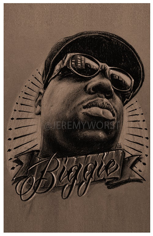 "Image of JEREMY WORST ""Biggie"" Notorious big poppa bad boy diddy artwork sketch"