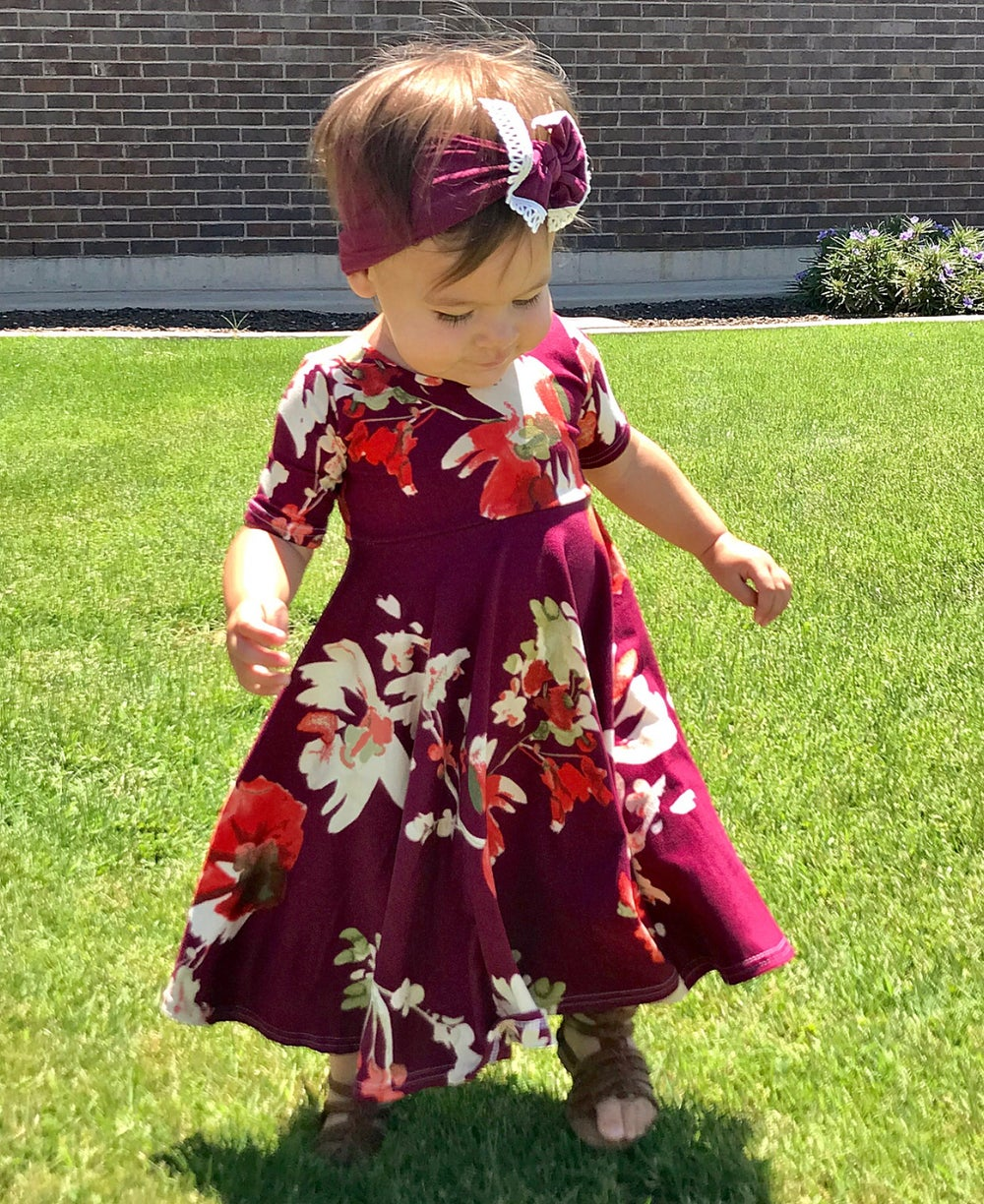 Image of Baby/Girls • Fuchsia Floral • Twirly Dress