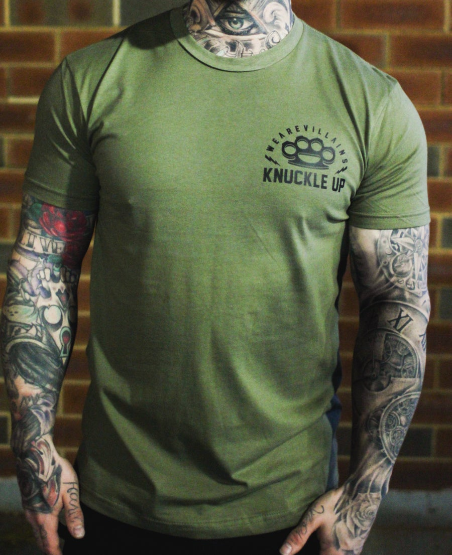 Image of Knuckle Up military green tee