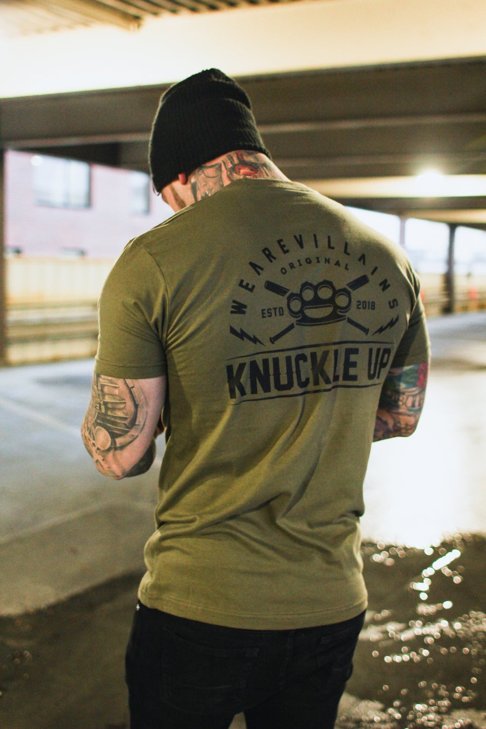 Knuckle Up military green tee