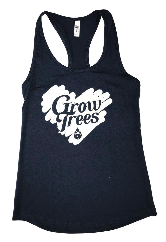 Image of Grow Trees Women's Tank Top (Navy Blue with White Heart)