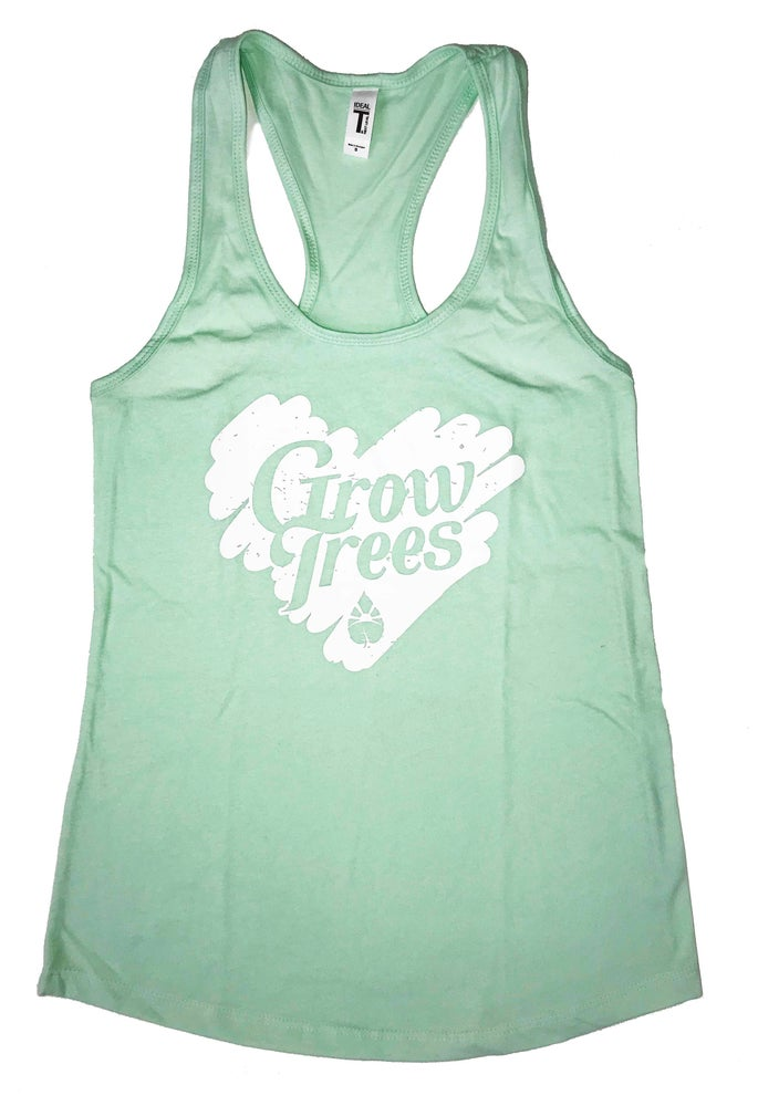 Image of Grow Trees Women's Tank Top (Mint Green with White Heart)