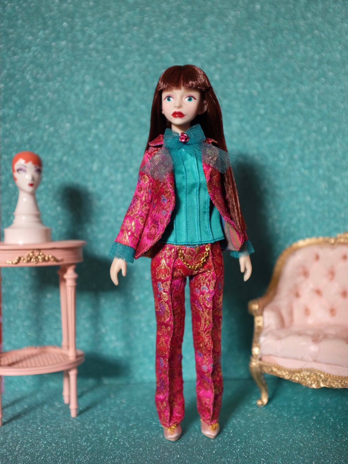 Image of LoungingLinda Brocade Suit Set ~ Magenta