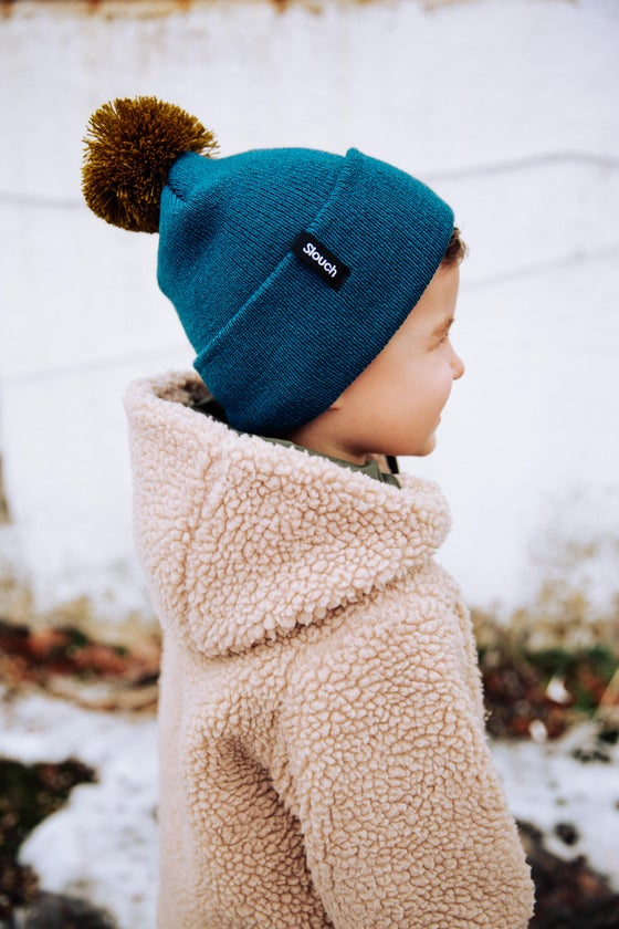 Image of Blue Knit Cuff Pom Beanie