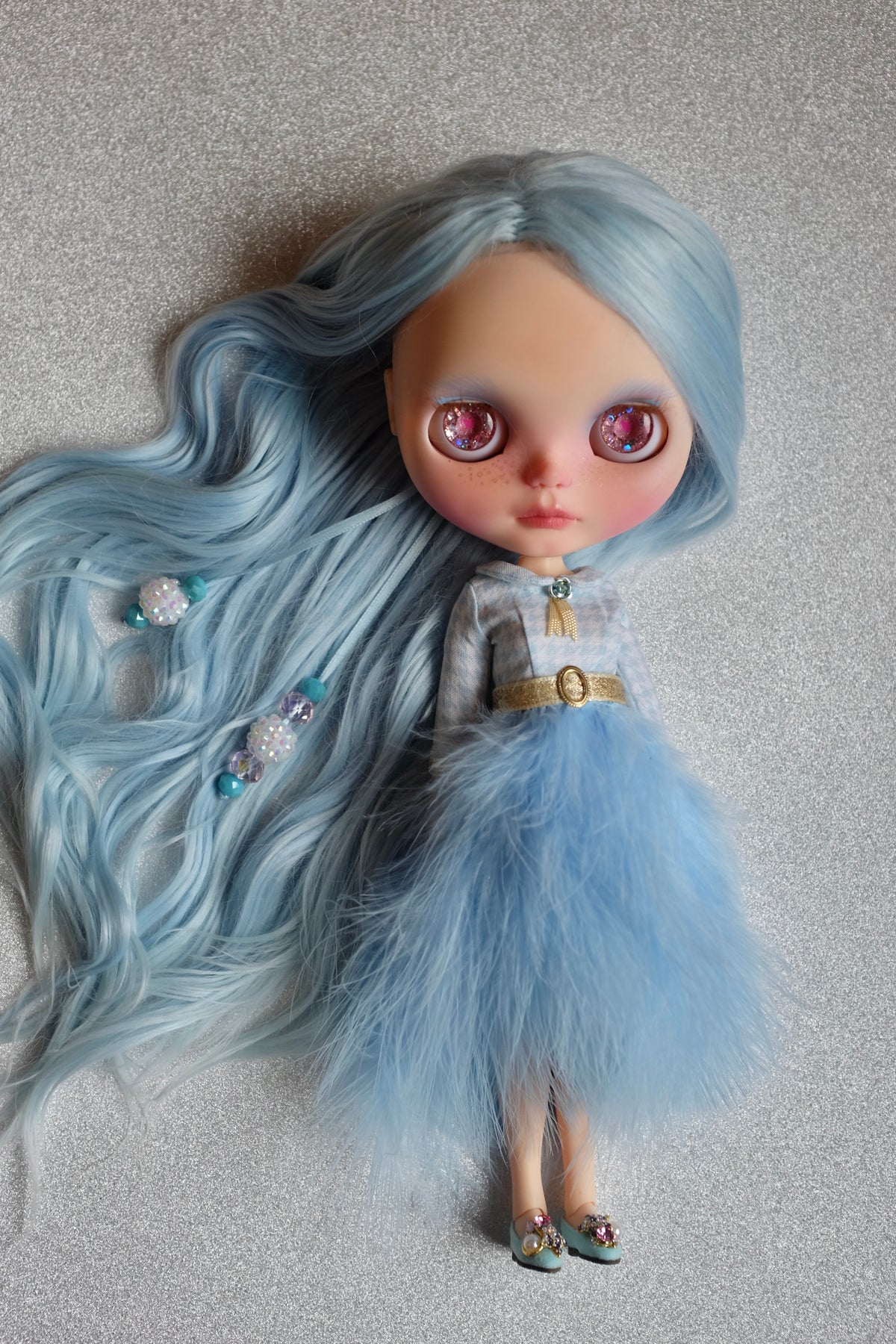 Image of Lounging Linda ~ Feather Dress ~ Baby Blue Marabou