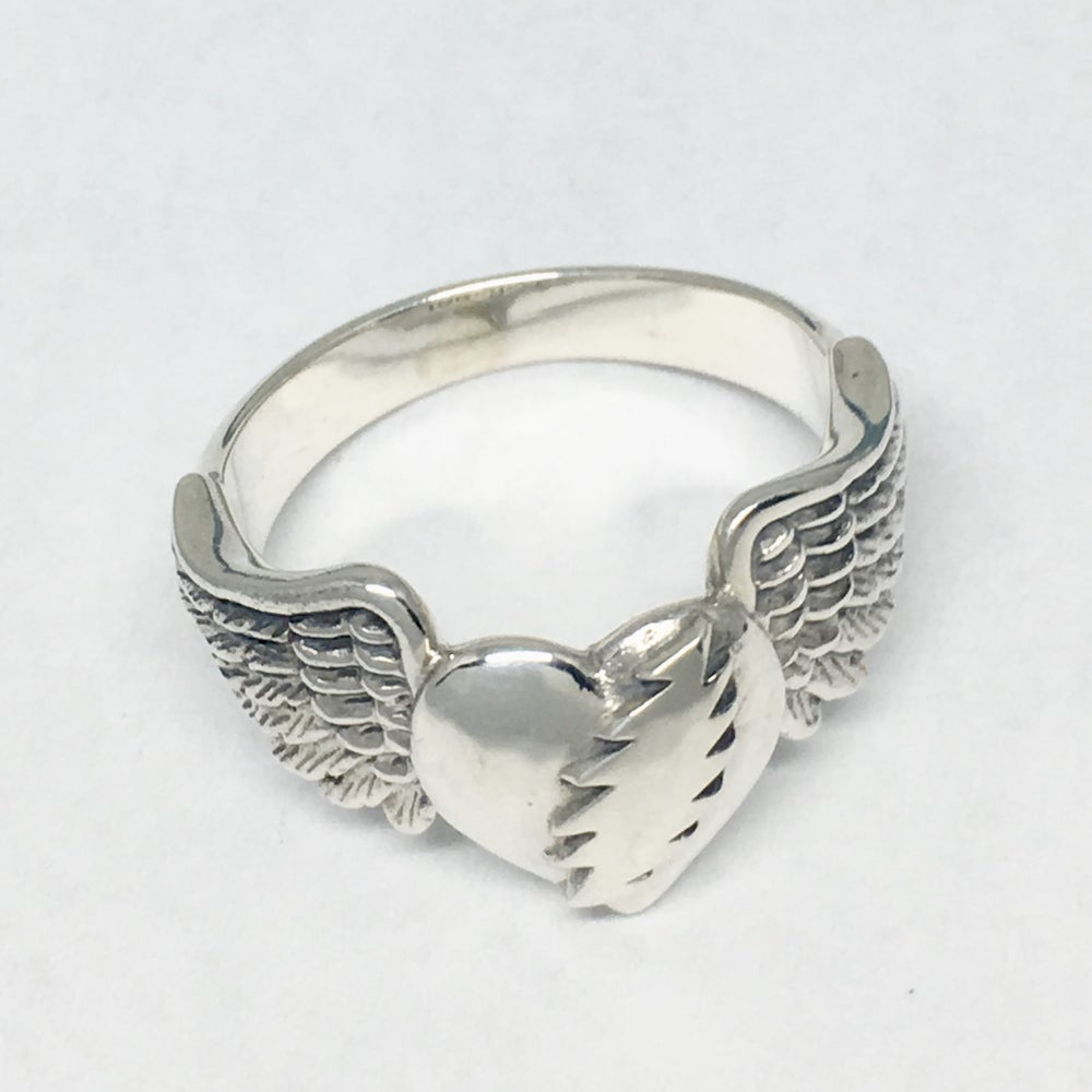 Image of Heart with Bolt and Wings Ring