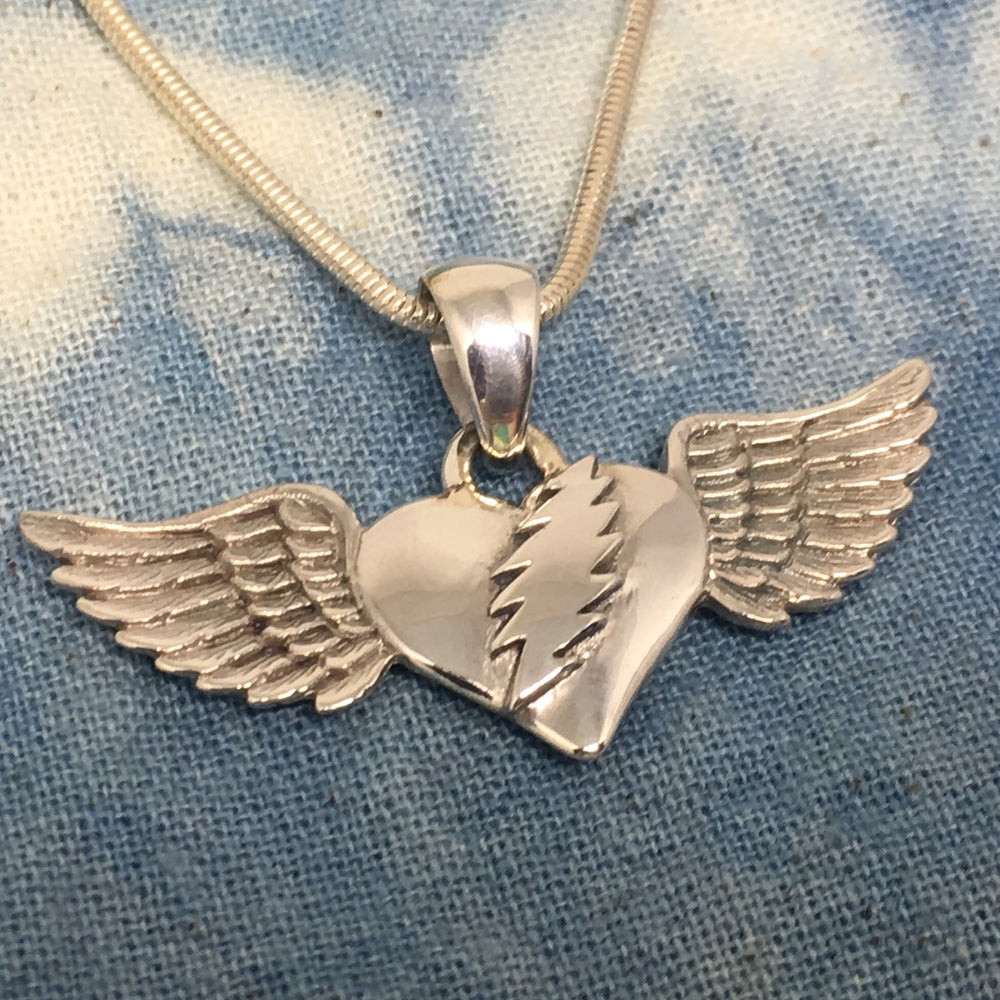 Image of Heart with Bolt and Wings Pendant on Sterling Silver Chain