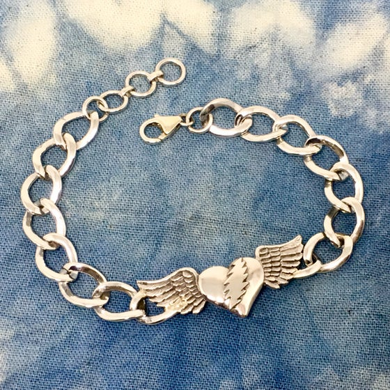 Image of Heart with Bolt and Wings ID Bracelet