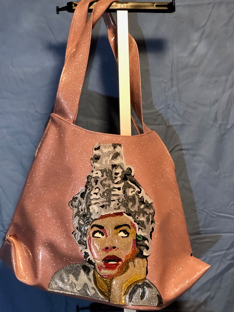 Image of Beauty School Dropout Rizzo Grease Pink Lady Glitter Vinyl Purse