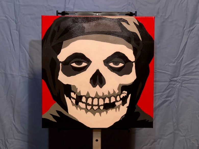 "Image of Crimson Ghost original 16""x16"" acrylic painting Misfits punk Danzig"