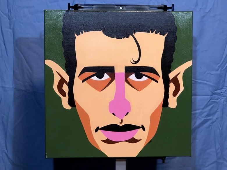 "Image of Joe Strummer color block portrait The Clash punk 16""x16"" acrylic painting"
