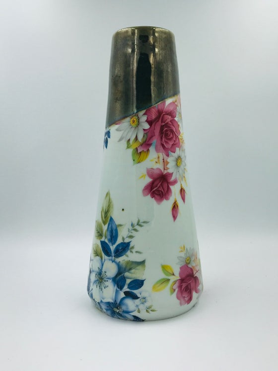 Image of Blue and Pink Floral Vase