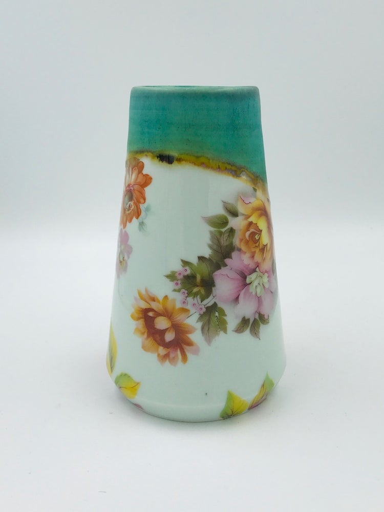 Image of Turquoise, Pink and Yellow Floral Vase