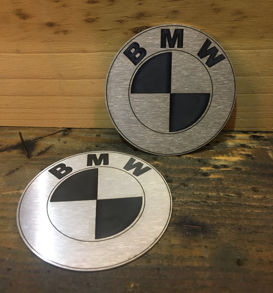 Image of BMW R Series 70mm Tank Roundels - Laser etched stainless