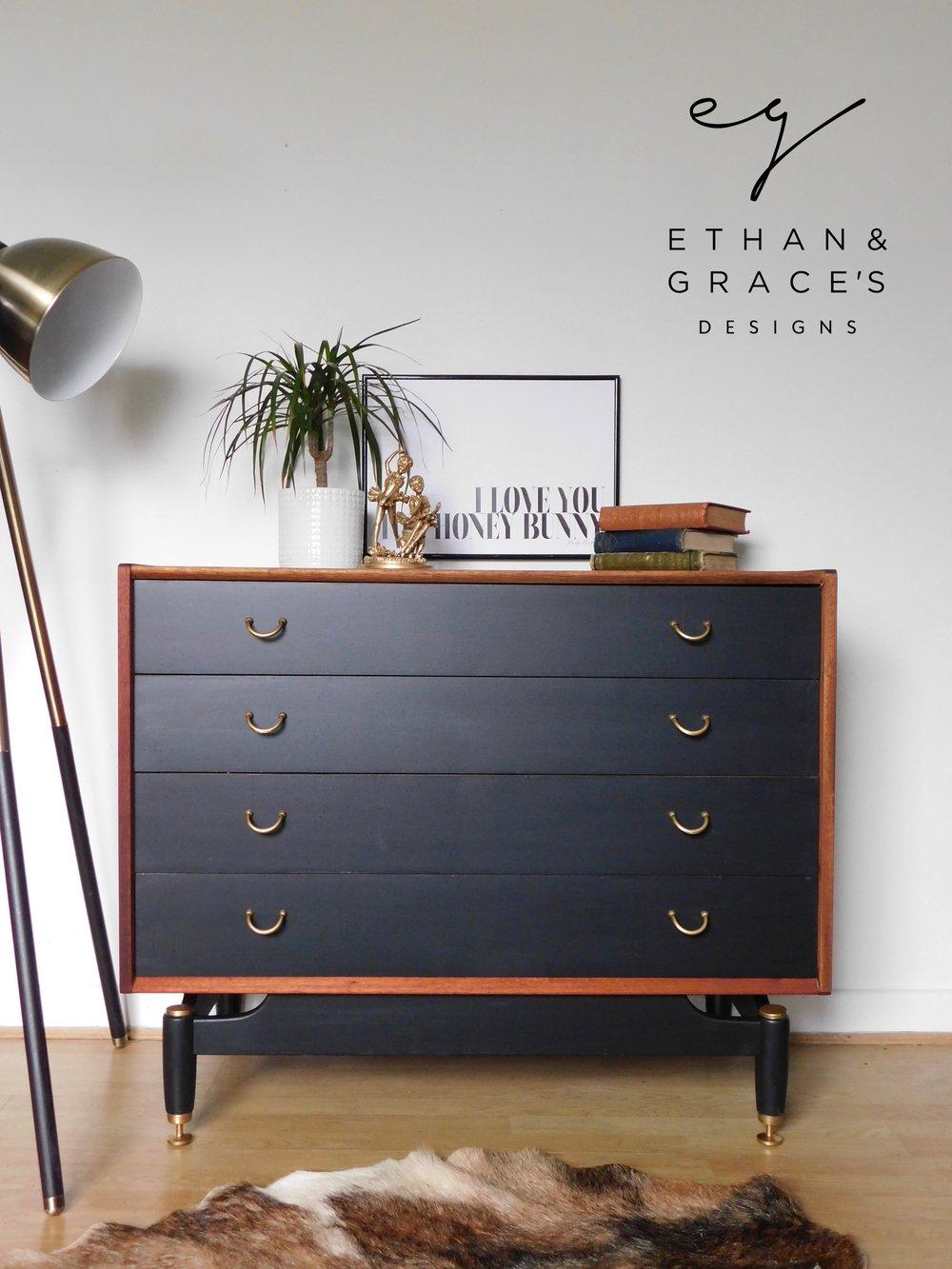 Image of G Plan drawers in teak and black