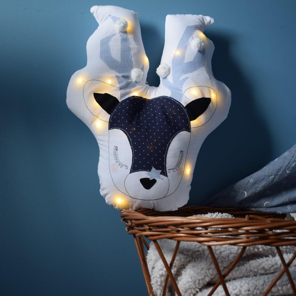 Image of GABRIEL - Cerf lumineux Pois et rayures marine / Blue lighting deer