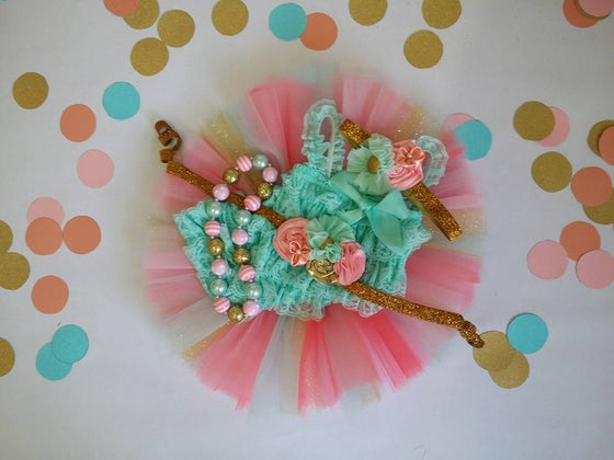 Image of Shocking Pink, Pink, Aqua and Gold Glitter Tutu, Chunky Necklace and Headband Set