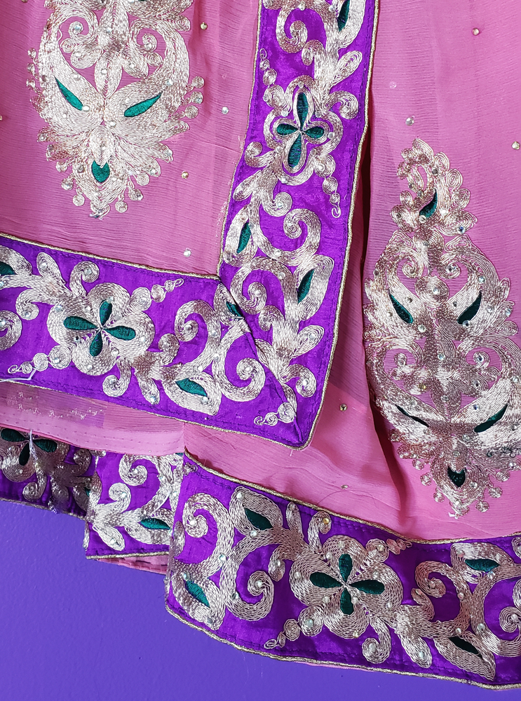Image of Nisha Silk Embroidered Saree & Crop Top