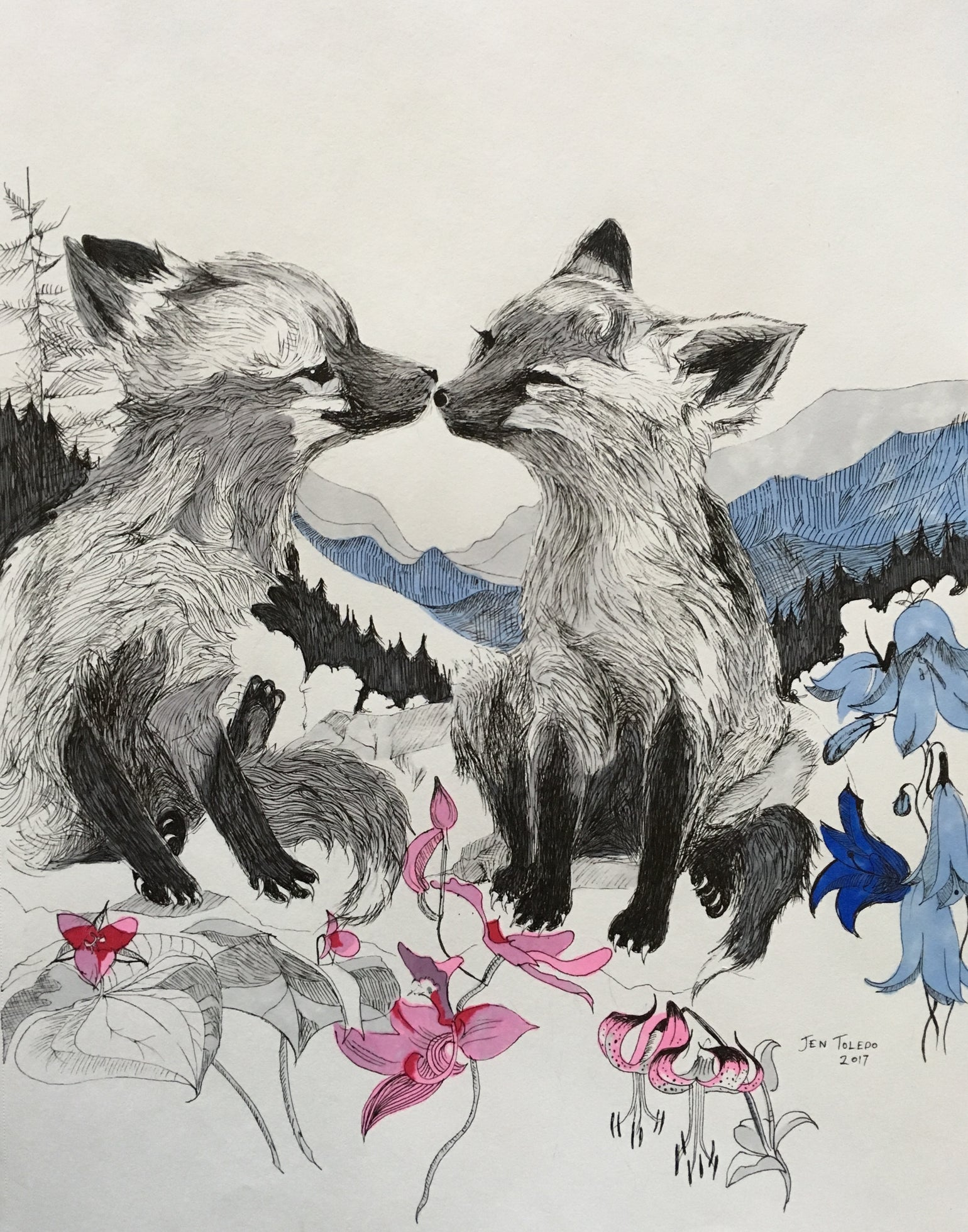 Image of Kissing Red Foxes w/Mountains