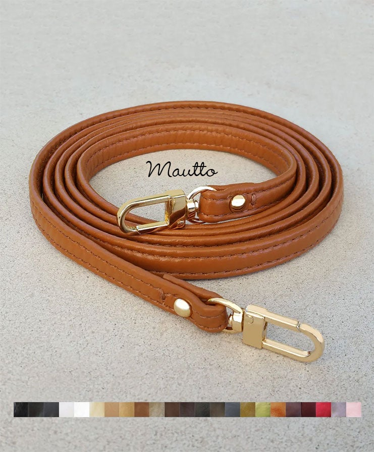 "Image of Extra Petite Leather Strap - 0.375"" (3/8) Wide - GOLD or NICKEL #16C LG Clasp - Choose Length+Color"