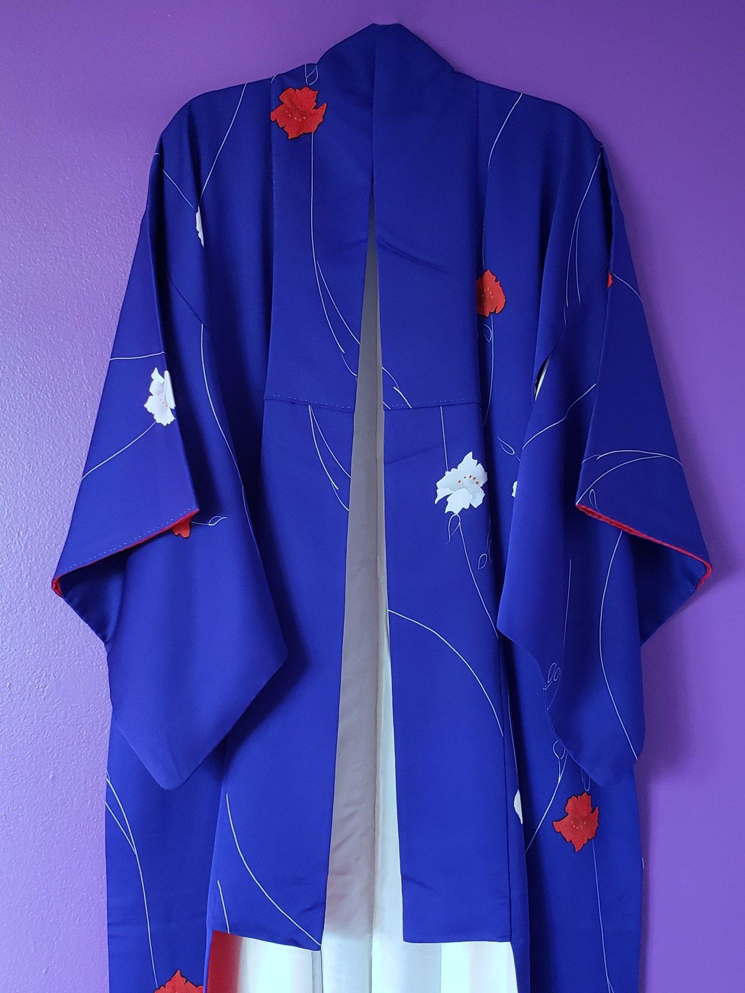 Image of Royal Poppy Print Kimono Robe