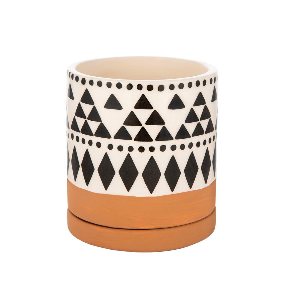 Image of Boho tribal mini terracotta planter with saucer