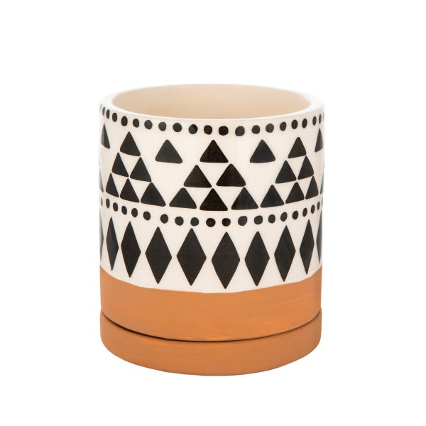 Image of Boho tribal mini terracotta planter with saucer