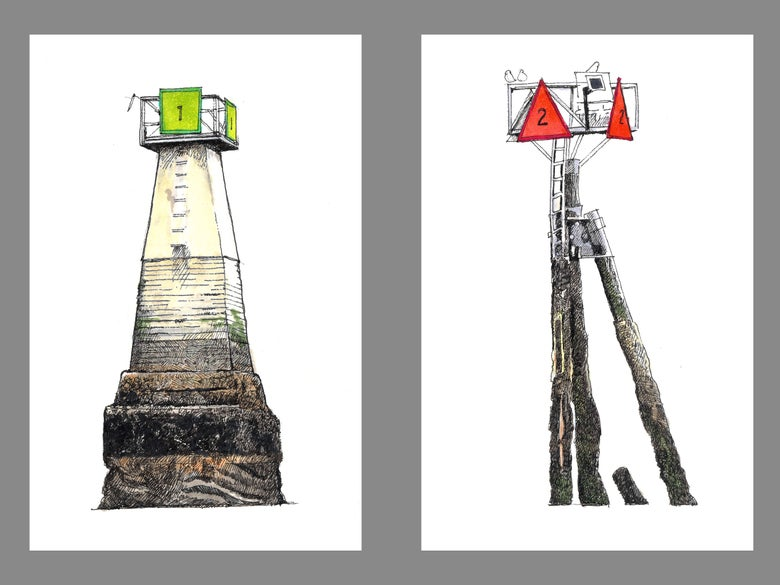 "Image of Wrangell Narrows Markers No. 1 and No. 2 8.5"" X 11"""