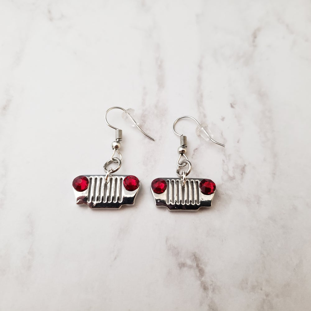Image of Jeep Grill Earrings with Swarovski Crystal Headlights