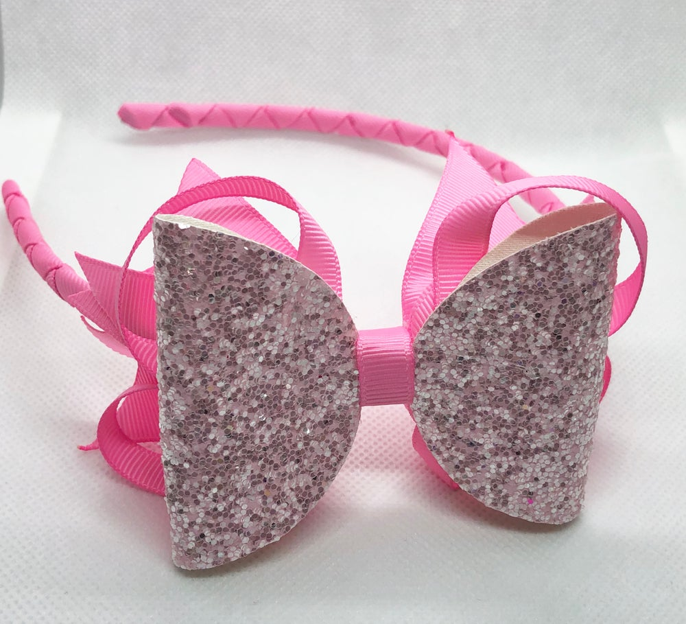 Image of Pink glitter stacker Aliceband.