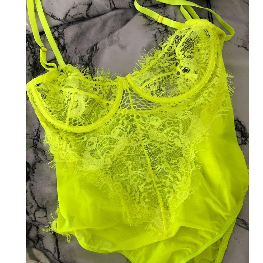 Image of Neon lace bodysuit
