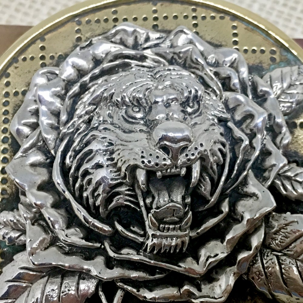 Image of Tiger Rose Buckle cast in yellow brass and sterling silver