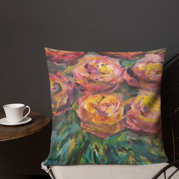 "Image of Roses Square Pillow Soft 18""X18"" Painted by Artist Antonio Rael w Red Yellow & Green"