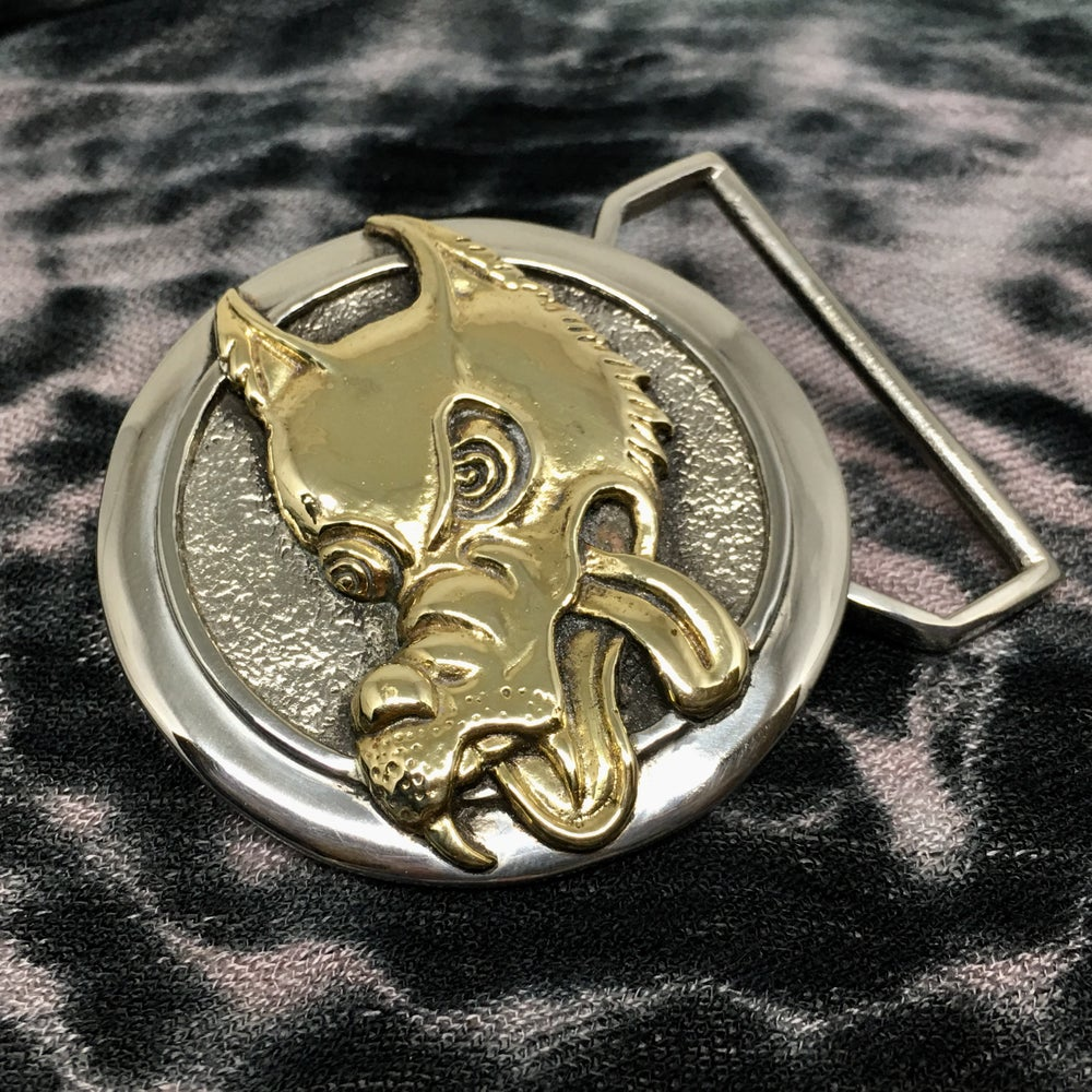 Image of Wolf Buckle Cast in White And Yellow Brass