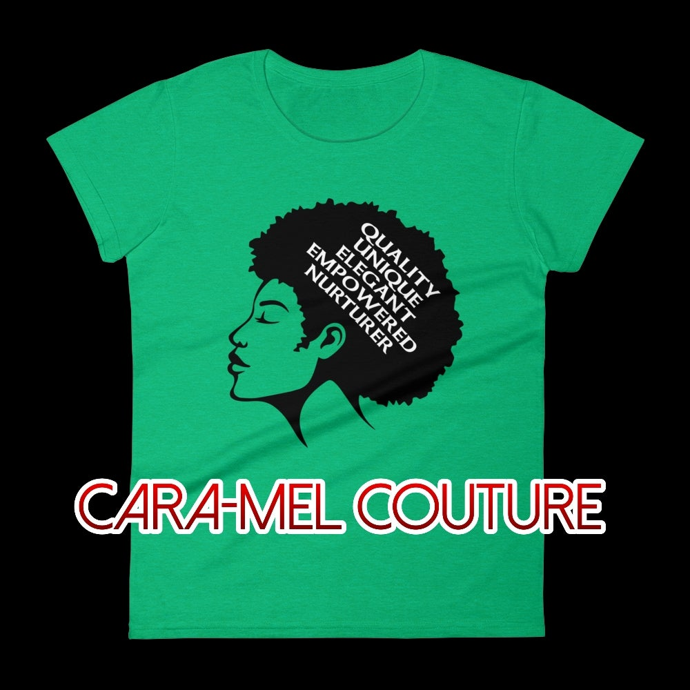 Image of Green Afrocentric Q.U.E.E.N. Women's Fashion T-Shirt
