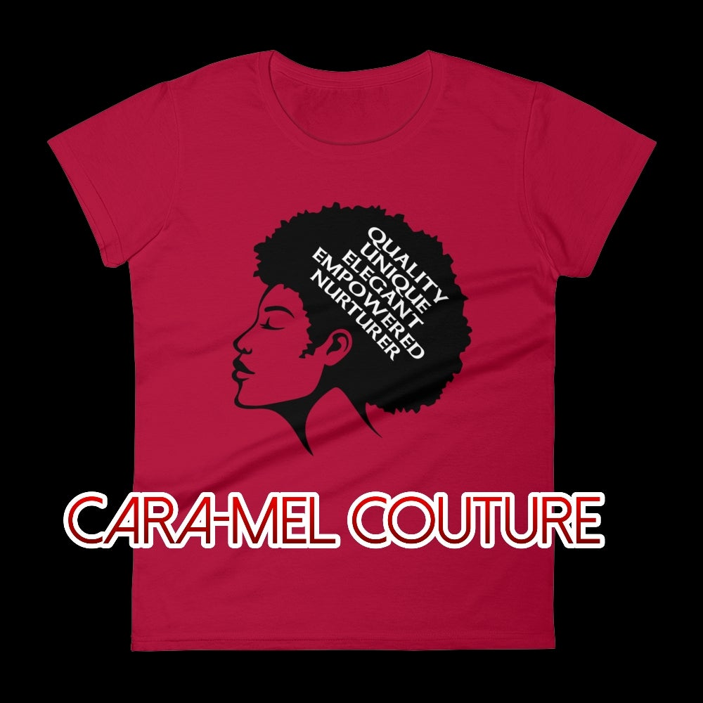 Image of Red Afrocentric Q.U.E.E.N. Women's Fashion T-Shirt