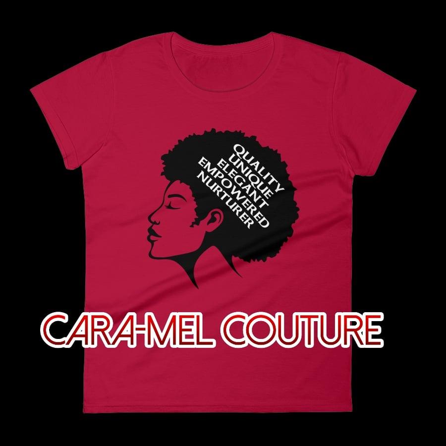Image of Red Afrocentric Q.U.E.E.N. Women's Fashion T-Shirt