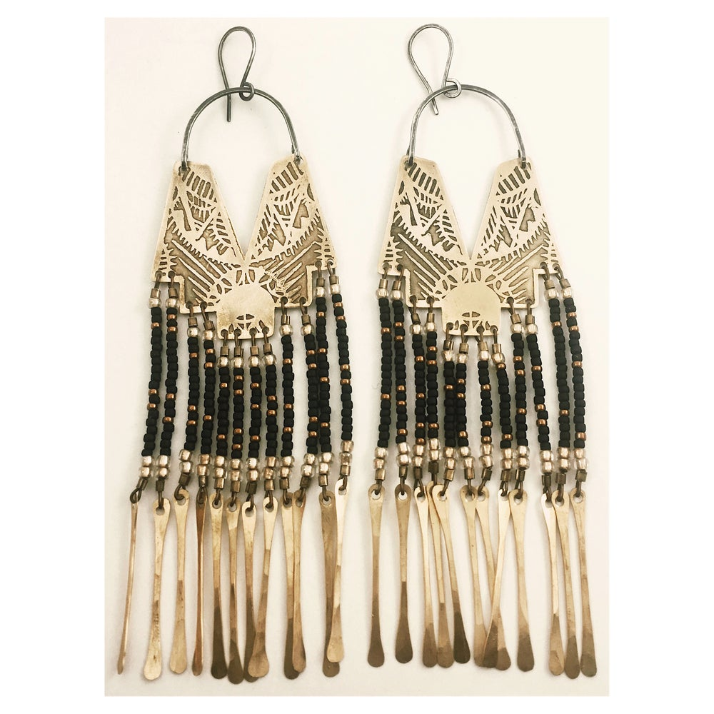 Image of Adorn w black n gold n Tassels